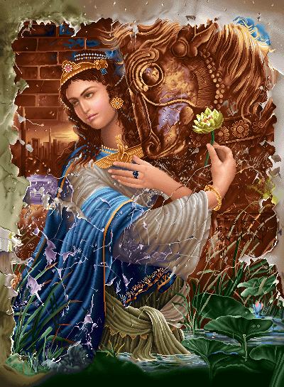 دانلود رایگان فایل نقشه ی تابلو فرش دستباف طرح دختر زیبای ایرانی دوران هخامنشیان