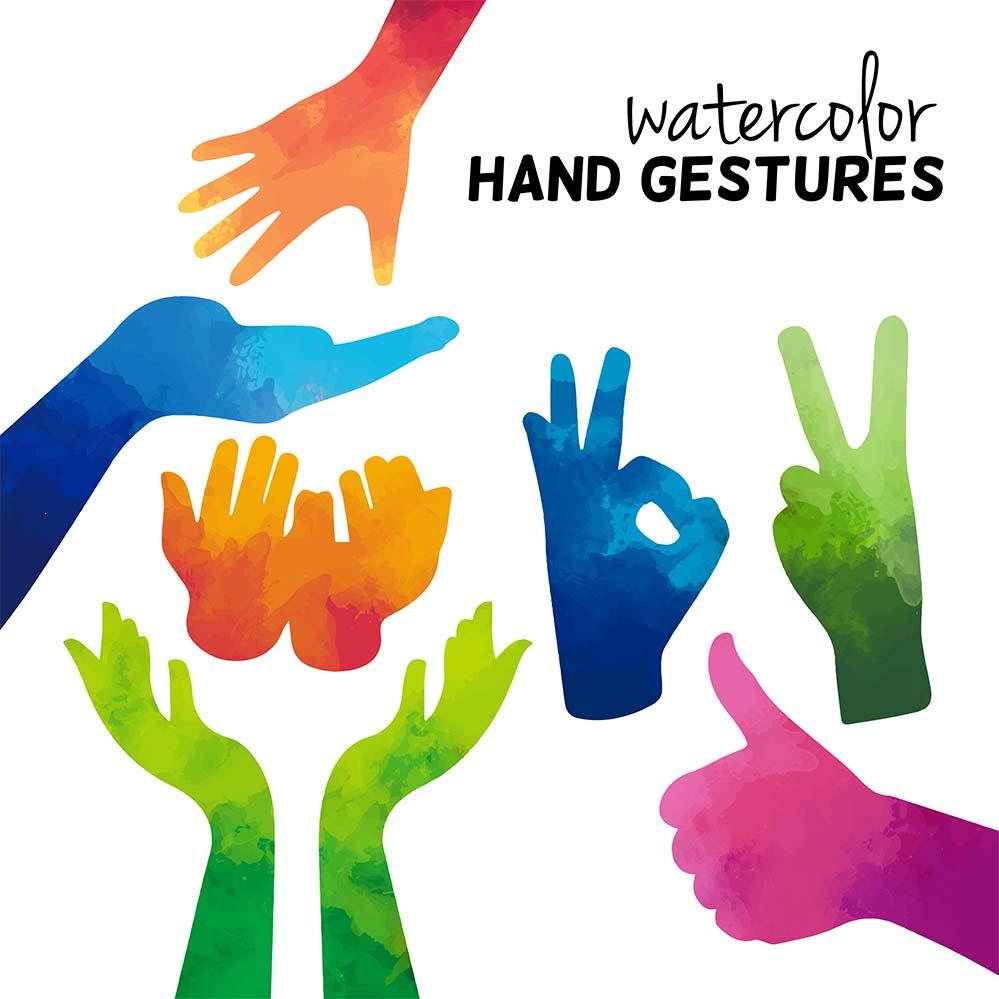 طرح دست های رنگی