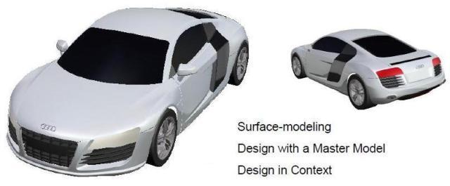 طراحی و مدلسازی بدنه خودرو Audi R8 در نرم افزار CATIA