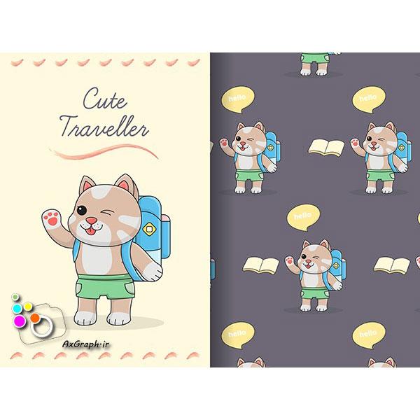 وکتور کارتونی گربه بانمک-کد 367