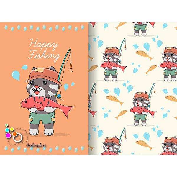 وکتور کارتونی گربه ماهیگیر-کد 368
