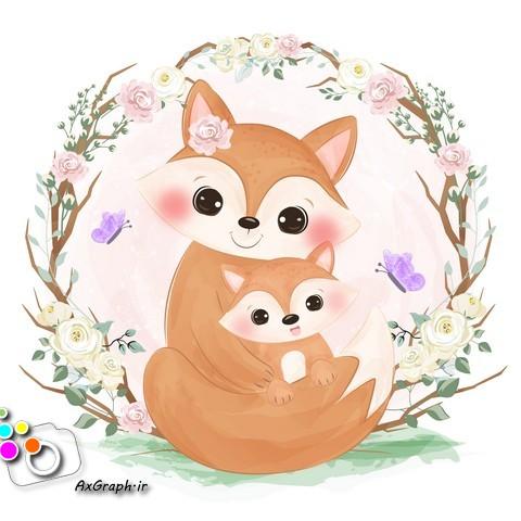 وکتور کارتونی روباه مادر و بچه-کد 369