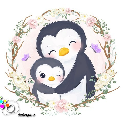 وکتور کودکانه پنگوئن مادر و بچه -کد 371
