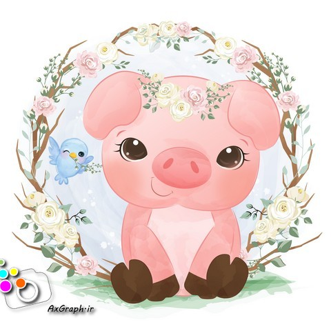 وکتور کودکانه دوستی خوک و گنجشک -کد 372