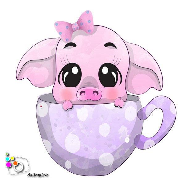 وکتور کودکانه خوک توی فنجون-کد 387