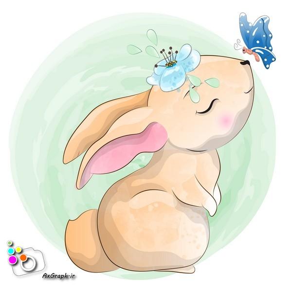 وکتور کودکانه خرگوش و پروانه-کد 388