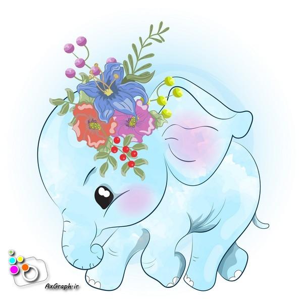 وکتور کودکانه فیل آبی گل بسر-کد 389