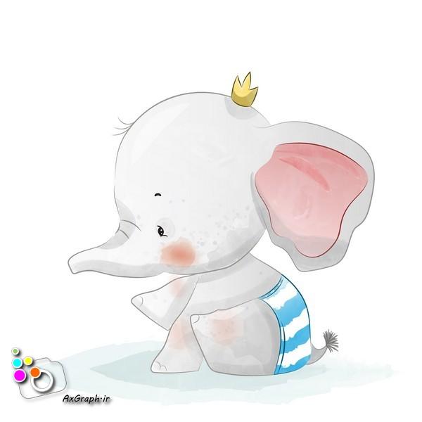 وکتور کودکانه فیل تنها-کد 395