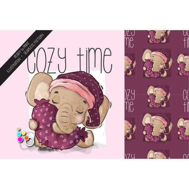 وکتور کارتونی فیل خوابالو -کد 396