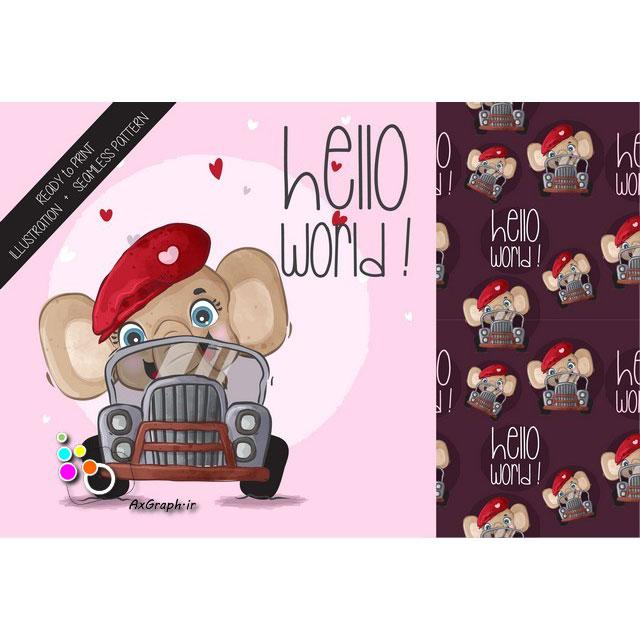 وکتور کارتونی فیل ماشین سوار-کد 400