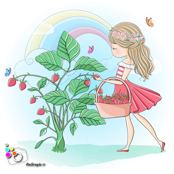 وکتور کودکانه دختر با سبد توت فرنگی-کد 412