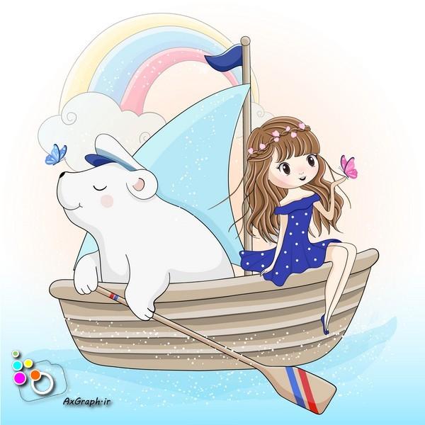 وکتور کودکانه دختر و خرس قایق سوار-کد 415