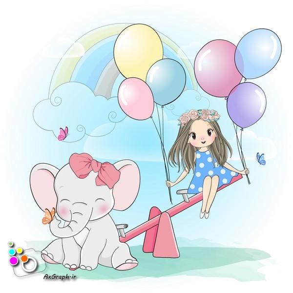 وکتور کودکانه دختر و فیل روی الاکلنگ-کد 416
