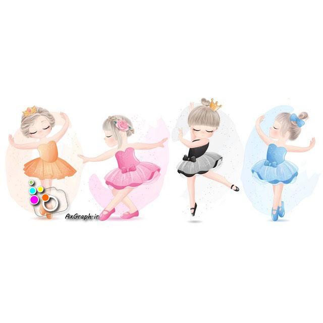 وکتور کودکانه دختران بالرین-کد 417