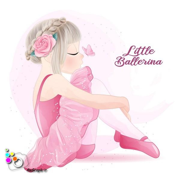 وکتور کودکانه دختر بالرین نشسته-کد 419