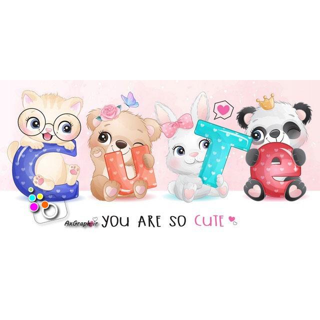 وکتور کودکانه حیوانات دوست داشتنی-کد 429