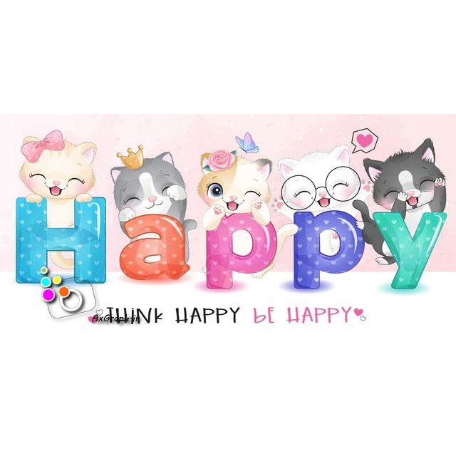 وکتور کودکانه گربه های خوشحال-کد 430