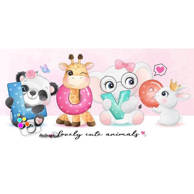 وکتور کودکانه حیوانات دوست داشتنی-کد 431