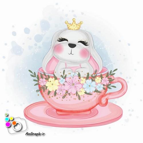 وکتور کودکانه خرگوش در فنجان -کد 441