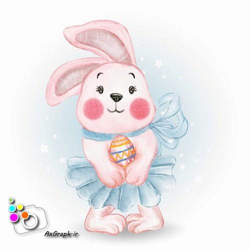 وکتور کودکانه خرگوش و تخم مرغ عید-کد 443