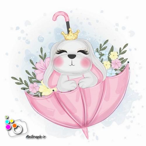 وکتور کودکانه خرگوش با چتر پر از گل-کد 444
