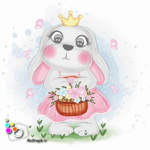 وکتور ودکانه خرگوش با سبد پر گل -کد 445