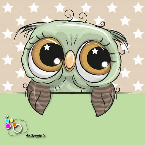 وکتور کارتونی جغد سبز-کد 456