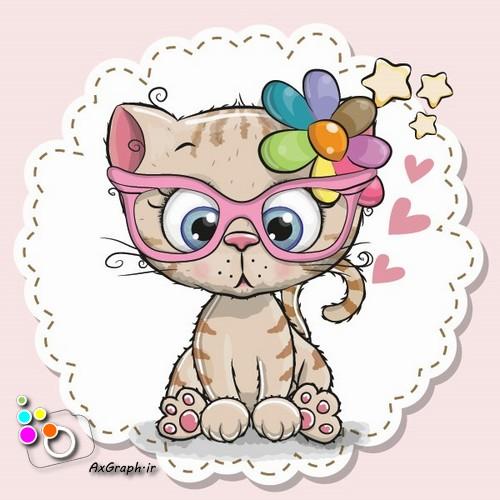 وکتور کارتونی گربه ملوس عینکی-کد 473