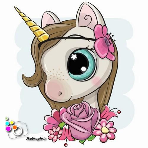 وکتور کارتونی تک شاخ و گل رز -کد 483