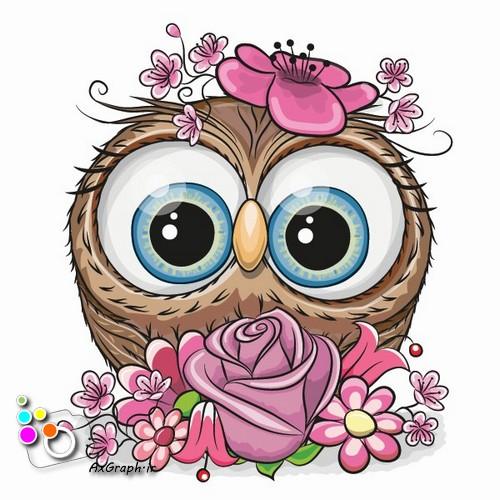 وکتور کارتونی جغد و گل رز -کد 487