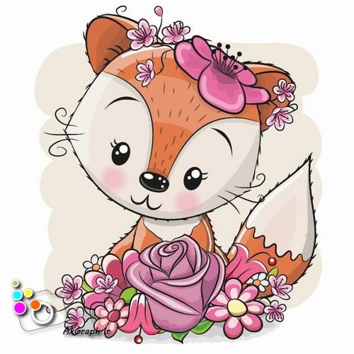 وکتور کارتونی روباه و گل رز -کد 489