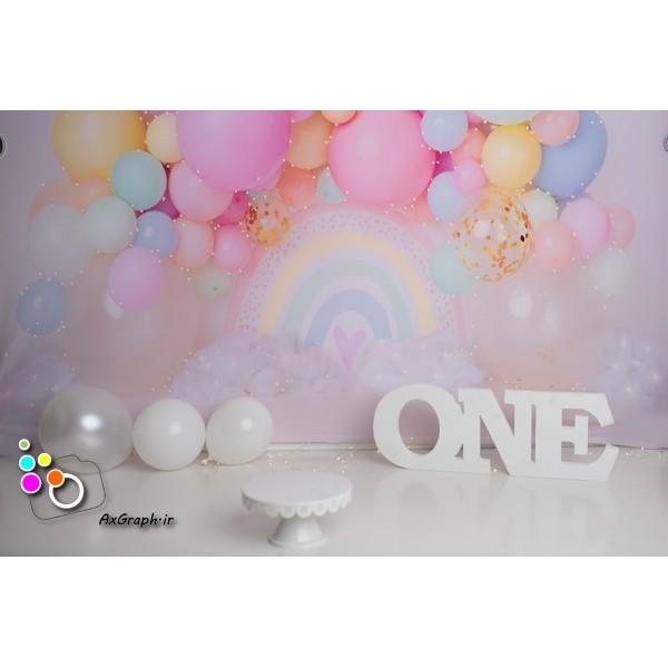 بک دراپ تولد تم رنگین کمان-کد 513