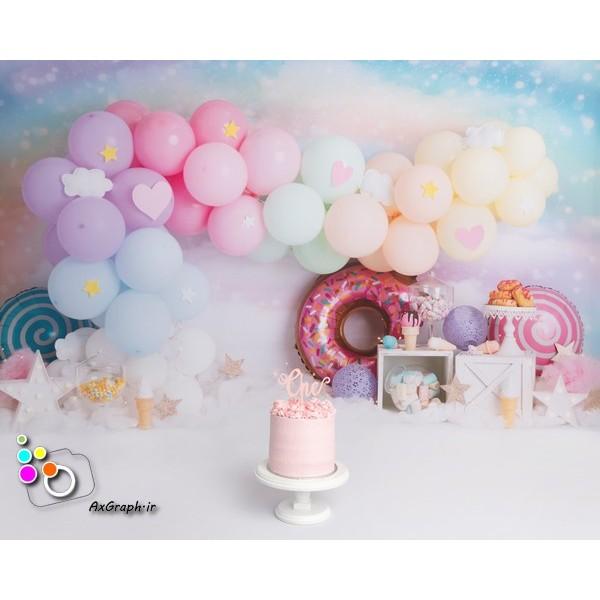 بک دراپ تولد تم دونات و بستنی-کد 519
