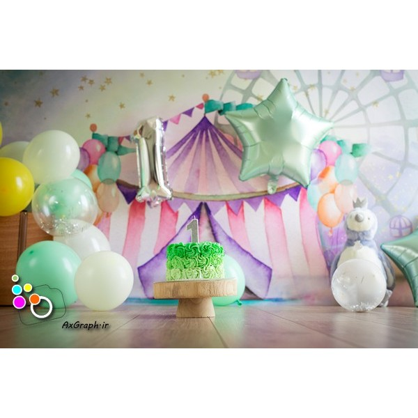 بک دراپ تولد تم سیرک -کد 526