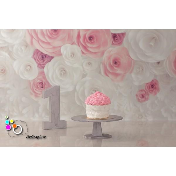 بک دراپ تولد تم گل رز-کد 529