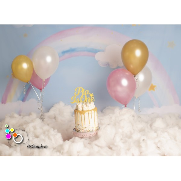 بک دراپ تولد تم ابر و رنگین کمان-کد 544