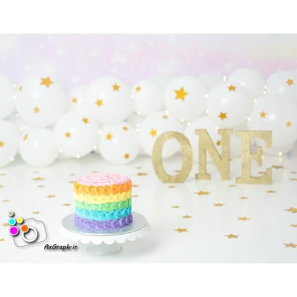 بک دراپ تولد تم رنگین کمان-کد 575