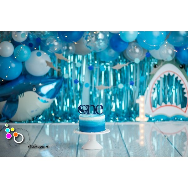 بک دراپ تولد تم کوسه-کد 580