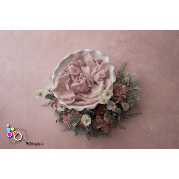 بک دراپ نوزاد کاسه سفالی و گلهای بهاری-کد 993