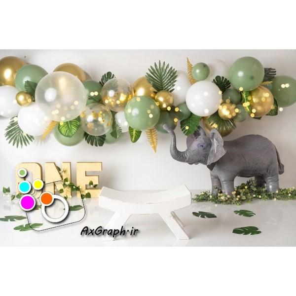 بک دراپ تولد تم فیل-کد 1892
