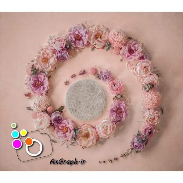 بک دراپ نوزاد گلهای بهاری -کد 1917