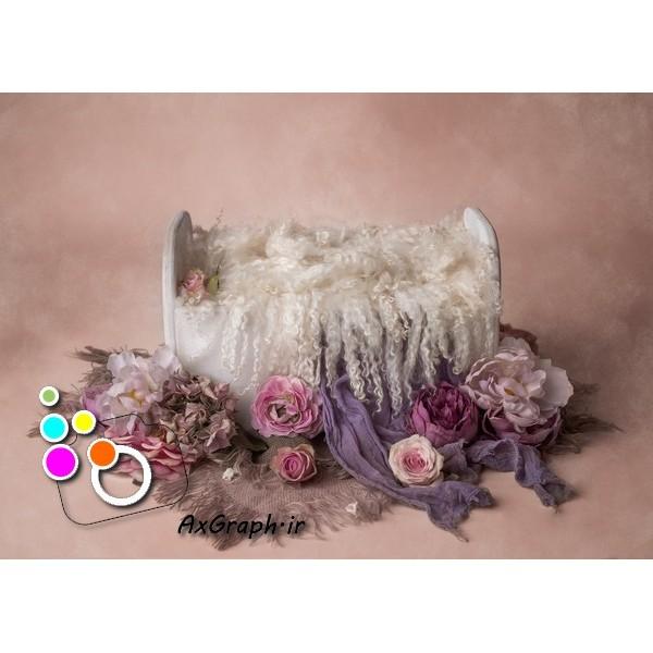 بک دراپ نوزاد تخت خواب گل آرایی-کد 1921