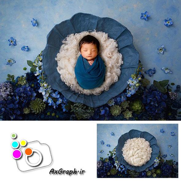 بک دراپ نوزاد باغ گلهای آبی-کد 1912