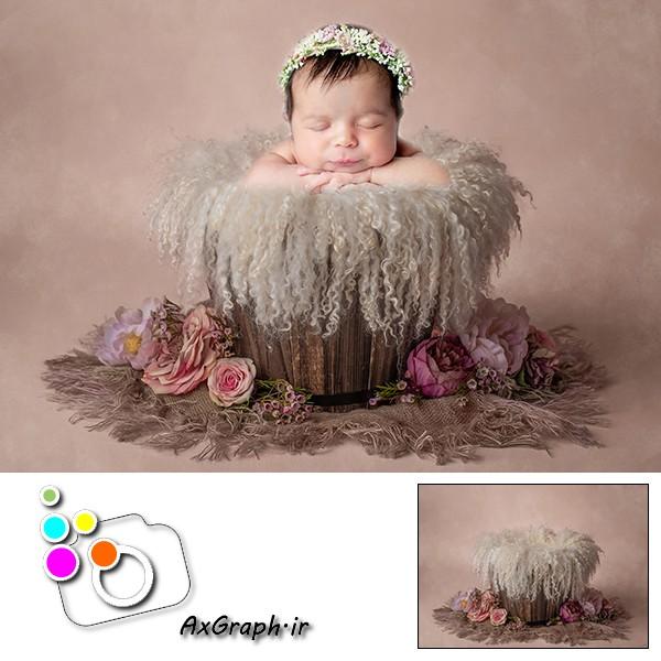 بک دراپ نوزاد سطل چوبی گل آرایی-کد 1923