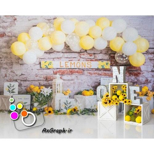 دانلود بک دراپ تولد تم لیمو و گل آفتابگردون-کد 2060