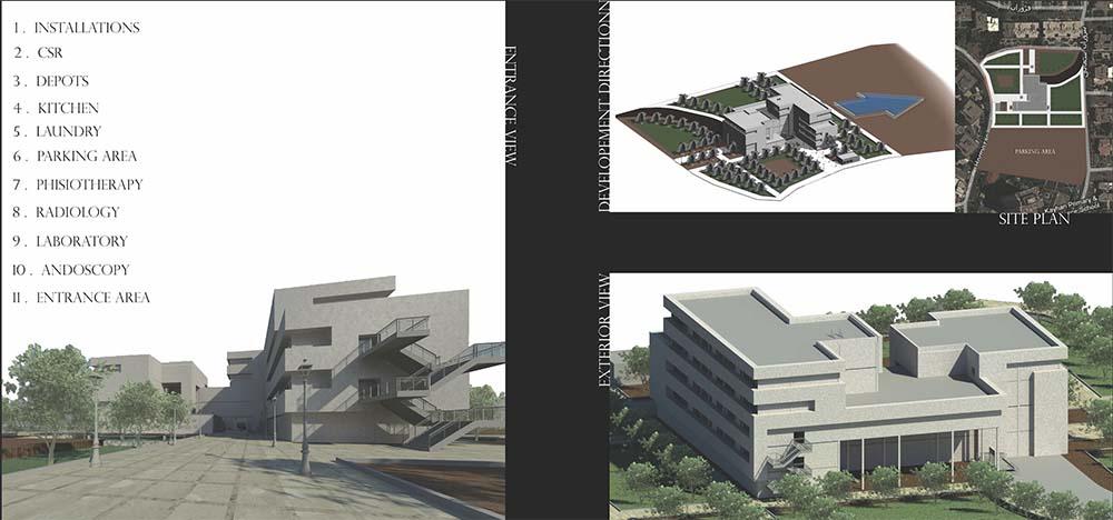پروژه طراحی بیمارستان (به همراه تمامی نقشه ها، نماها، رندرهای سه بعدی، تحلیل سایت و کلیه فایل های مورد نیاز)