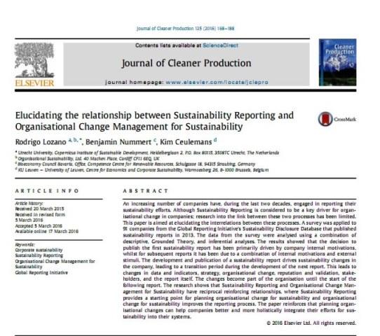 مقاله انگلیسی با ترجمه شرح رابطه بین گزارش دهی پایداری و مدیریت تغییر سازمانی برای پایداری