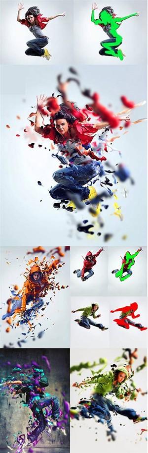 اکشن فتوشاپ ایجاد افکت ادغام ذرات مایع با تصاویر