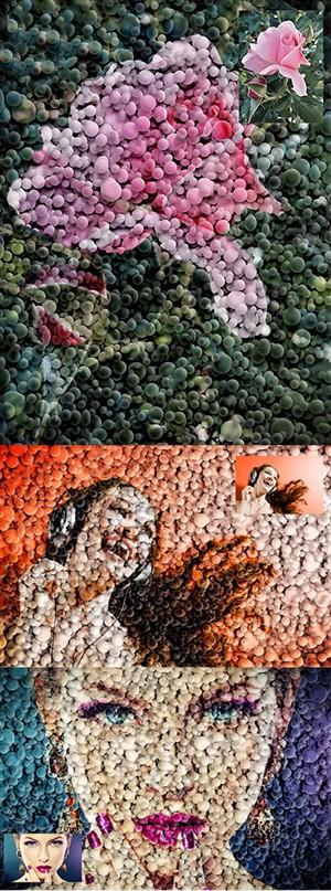 اکشن فتوشاپ ایجاد افکت موزاییکی سه بعدی بر روی تصاویر