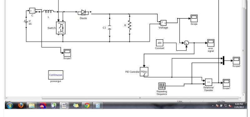 شبیه سازی مبدل BOOST با کنترل PI درنرم افزار متلب